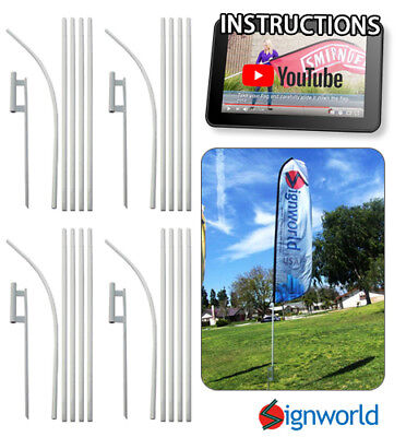 - 4 PACK - Feather Flutter Swooper Flag 16' POLE + SPIKE Ground Stake Mount KIT