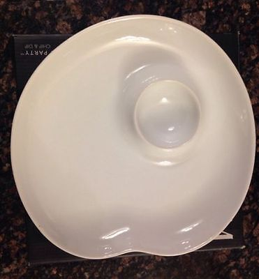 Gorham Chip And Dip Bowl With Tray White Porcelain & Bamboo NWB Salsa Tortilla