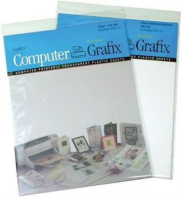 GRAFIX InkJet Printable Transparent Plastic Film Sheets ADHESIVE BACKED Clear