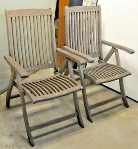 Vintage Pair Of Steamer Deck Chairs Teak Wood Ocean Liner
