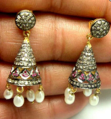 Jhumka Earrings 3.19ct Rose cut Diamond & Pearl for Her, Free Shipping