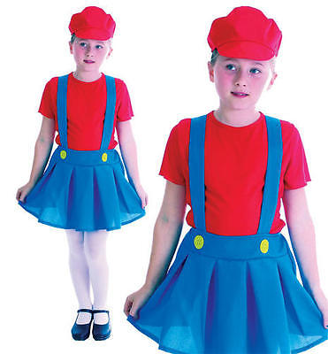 Childrens Kids Plumber Girl Fancy Dress Costume Mario - Mario Brothers Outfits