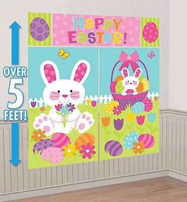 EASTER BUNNY Scene Setter HAPPY EASTER party wall decoration kit 5' eggs basket - Easter Scene Setters