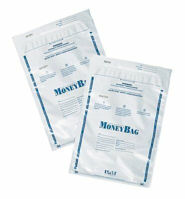 "Pm Securit Plastic Disposable Deposit Money Bag - 9"" X 12"" - Plastic - 100/pack"