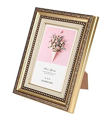 Alooter 4x6 Picture Frame Gold Picture Frame with Deluxe Vintage Design Basic...