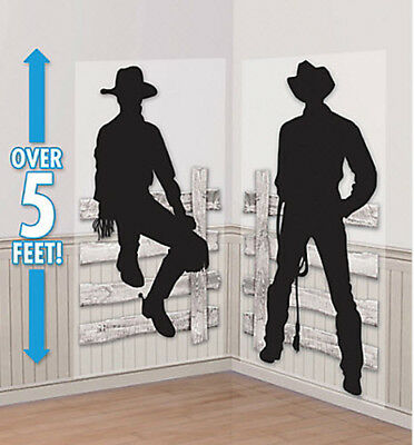 WESTERN COWBOY Scene Setter wild west party wall decor kit + 10 photo booth prop](Wild West Scene Setters)