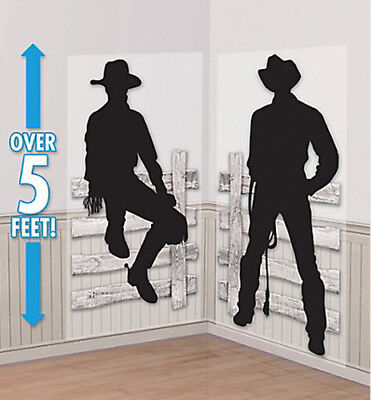 WESTERN COWBOY Scene Setter wild west party wall decor kit 5' silhouettes - Western Party Decor
