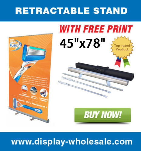 "45"" Retractable roll up banner stands + vinyl print"