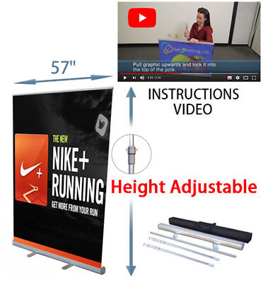 Retractable Roll Up Banner Stand 57 X 78 Advert Display Sign