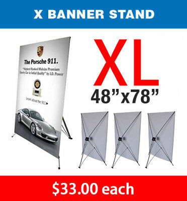 X Banner Stand Tripod Trade Show Display Large 48 X 78 - Qty 4