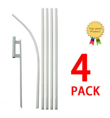 Feather Flutter Swooper Flag 16 Pole Spike Ground Stake Mount Kit 4 Pack