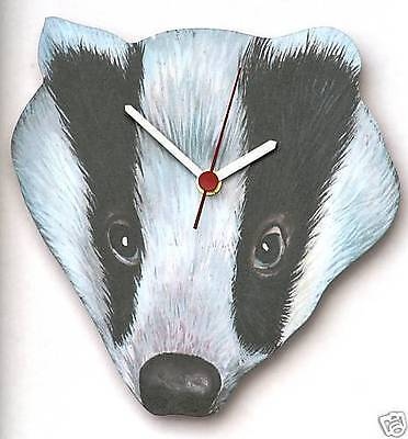Badger Face Wooden Wall Clock  Made in UK in Gift Box