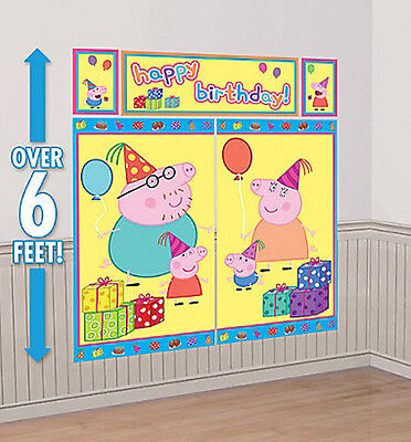 Peppa Pig Party Decorations (PEPPA PIG Scene Setter Happy Birthday Party wall decoration kit George Mom)
