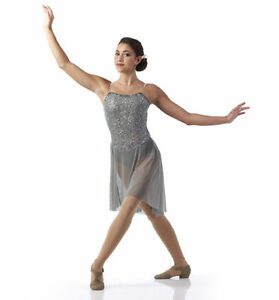 Grey Sequin Lyrical Ballet Dance or Skating Costume Adult Small