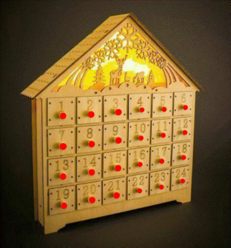 Christmas Advent Calendar Wooden Light Up Led Decoration