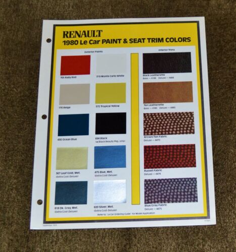 VTG 1979 ADV Renault 1980 Le Car Paint & Seat Trim Colors Brochure