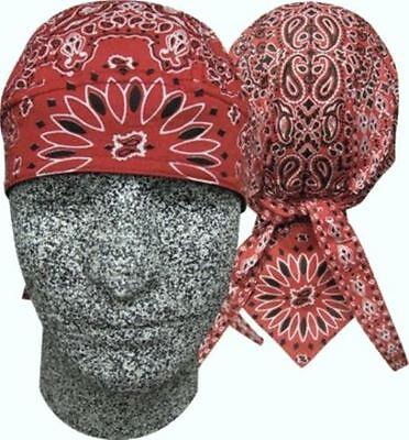 Red  Paisley Doo Rag Head Wrap Skull Durag Bandanna Cap Sweatband Capsmith -