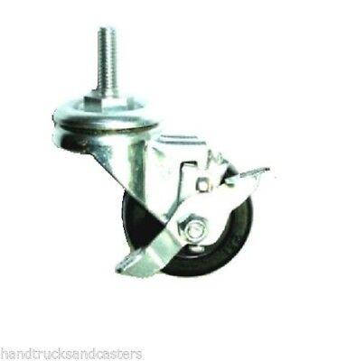 Swivel Stem Caster 2 Diameter Hard Rubber Wheel 516 18 Threaded Stem W Brake