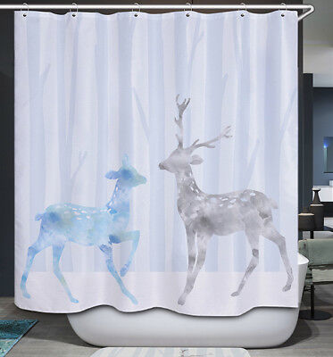 Deer Couple White Snow Shower Curtain Gray Blue Tree Forest Winter Rustic Cabin ()