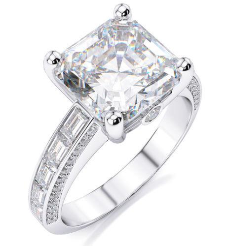 2.40 ct. Asscher Cut w/ Baguette Diamond Engagement Ring F, VS1 GIA 14k WG