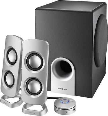 Insignia- Powered Computer Speakers with Subwoofer (3-Piece) - Black/Silver...