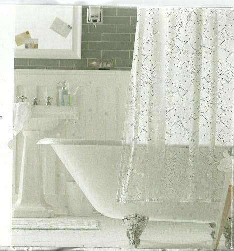Diy Outdoor Curtain Rod White Jacquard Shower Curtain