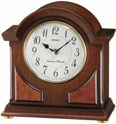 Seiko Mantel Chime Brown Wooden Case Clock QXJ012BLH