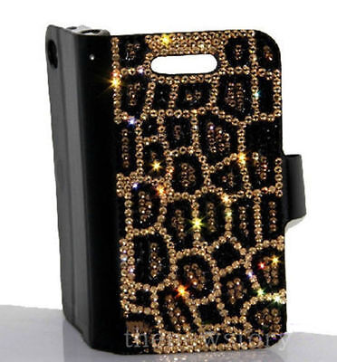 For Various Mobile Phones Rhinestone Slot Card Cheetah Print Wallet Leather Case