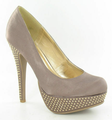 Spot On F9565 Diamante Platform Court Shoes