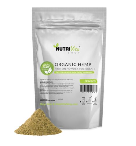 NVS 100% Pure Organic Hemp Protein Powder 50% Isolate USDA nonGMO High Fiber USA
