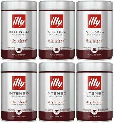 6x illy Ground Espresso Intenso Bold Dark Roast Coffee 8.8 oz exp 10/21