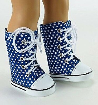 """Lovvbugg Blue Stars Sneakers Boots for 18"""" American Girl or Boy or Bitty Baby Doll Shoes Clothes"""