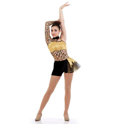 Child Small Gold Wild Side Animal Print Boy Shorts Cheetah Dance Costume Gold Wild Cheetah
