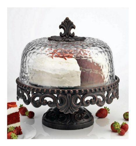 cake stand with dome ebay. Black Bedroom Furniture Sets. Home Design Ideas