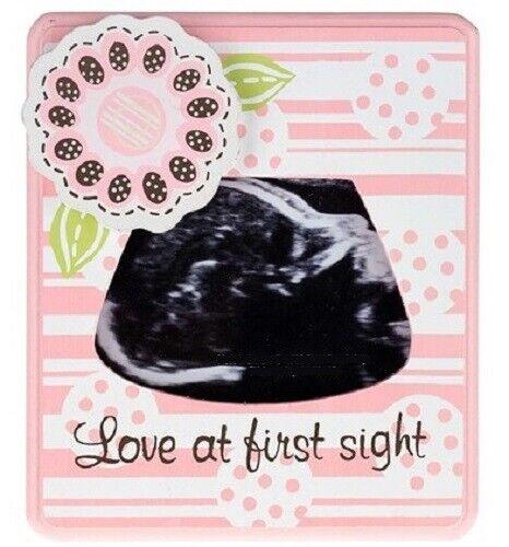 PINK SONOGRAM PHOTO FRAME ~ Ultrasound Picture Keepsake Baby Girl ~ NEW!