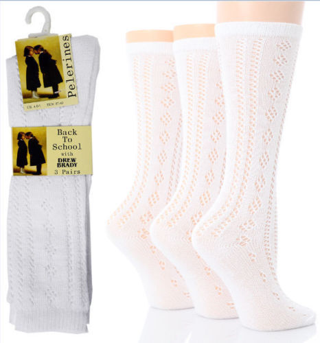 All Sizes 1-6 Pairs Girls Pelerine Cotton Rich 3//4 Long White School Socks