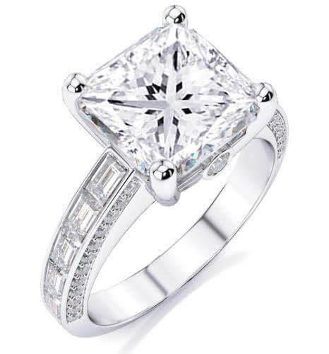 2.10 Ct Princess Cut w/ Baguette Diamond Engagement Ring E, VS2 GIA 14K WG
