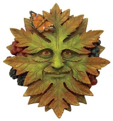 Nature Greenman Face Wall Plaque  W/ Butterfly(2408) 5 Inch Hand Painted Resin