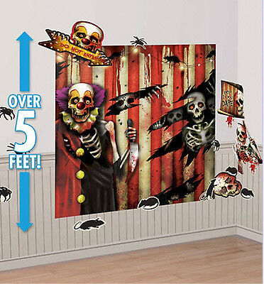 CREEPY CARNIVAL Scene Setter Halloween Party wall decoration kit 6' 32pc clown (Carnival Scene Setters Halloween)