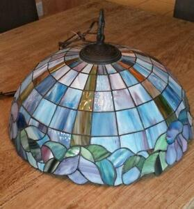 Charming Vintage Stained Glass Hanging Light