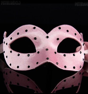 Mask from Venice Wolf Colombine Satin Veloute Pink a Polka Dots Paper Mache 470