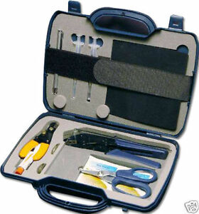 Pro Fiber Optic Cable Tool Kit w/Hard Carry Case - Cutter Stripper Crimper Etc.