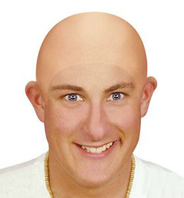 Fake Bald Head Skinhead Baldy Clown Mens / Ladies Fancy Dress Wig Skull Cap