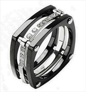 mens diamond titanium wedding bands - Black Mens Wedding Ring