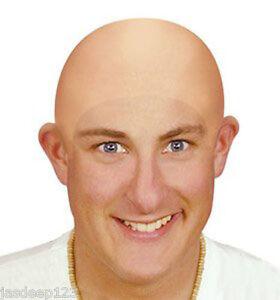 Funny Fake Bald Head Skinhead Wig Cap Mens Ladies Unisex Fancy Dress Party