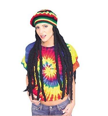 Rasta Crochet Tam Hat w/ Dreadlocks Jamaican Wig Halloween Costume Accessory
