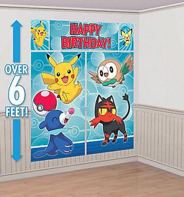 POKEMON CORE Scene Setter HAPPY BIRTHDAY party wall decoration kit 6'  - Pokemon Birthday Decorations