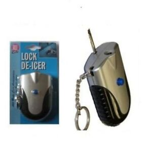 De Icer Lock Hot Key De-Icer Keyring With Torch Car Van Door Padlock Defroster