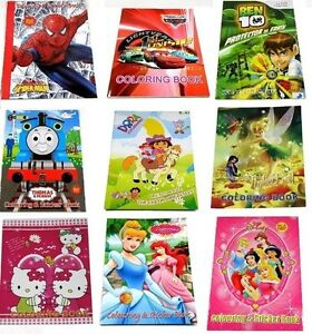 NEW-LARGE-COLORING-STICKER-BOOK-PEPPA-PIG-CARS-DORA-PRINCESS-SPIDERMAN-PARTY-KID