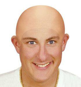 Funny Fake Bald Head Skinhead Baldy Clown Mens / Ladies Fancy Dress Wig Cap